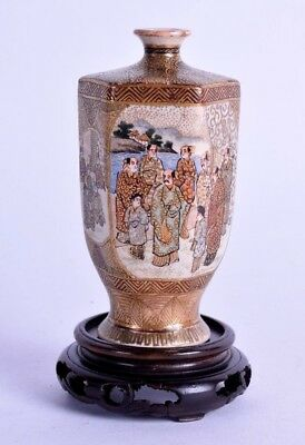 fine19th c japanese satsuma vase - meiji period - hexagonal pottery vase signed