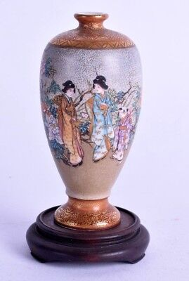 good 19th c japanese satsuma vase - meiji period - baluster pottery vase signed