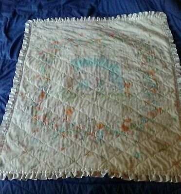 Vintage Precious Moments Baby Blanket Crib Quilt Satin Ruffle Edge White Sheep