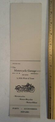 """Rare (Ingersoll, Ont) """"the Motorcycle Garage"""" Time/pay Card - Advertising Card"""
