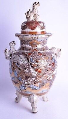 huge 19th c japanese satsuma koro & cover - meiji period - satsuma pottery vase