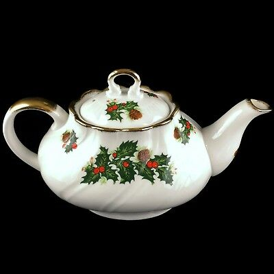 VTG Queen's Yuletide Rosina Fine China Teapot England Christmas Gold Trim