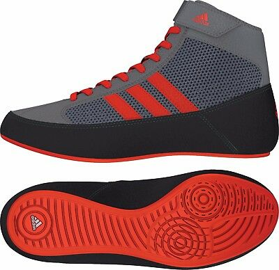 Adidas Havoc Kids Wrestling Shoes Boots Trainers Childrens Grey and Red Boys