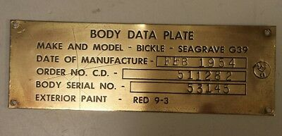 """A Canadian (Woodstock, Ontario) """"bickle-Seagrave Body Data Plate"""" Brass - 1954"""