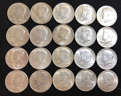 Lot of 20 Kennedy Half Dollars, 90% Silver Content. $10.00 Face. All 1964.