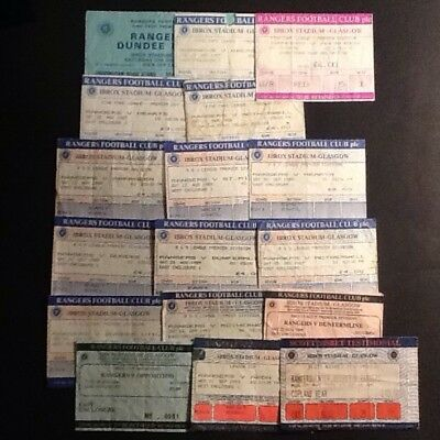 17 Rangers Home Tickets from 1986 to 1995