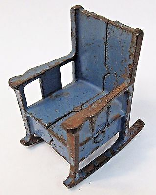 Arcade Doll House ROCKING CHAIR blue cast iron 1920's vintage *