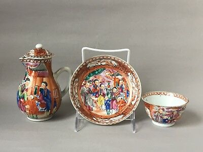 Antique 18th C chinese export porcelains for three pieces Chain Lung
