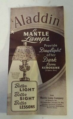 "Rare Canadian (Toronto) ""aladdin Mantle Lamps"" Foldout Product Brochure- 8 Pages"