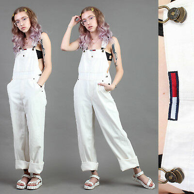 vtg TOMMY HILFIGER ivory denim OVERALLS one piece pants y2k club kid techno S