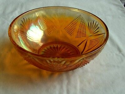 "Vintage Marigold  Glass Bowl Diameter 8"" Height 3"""