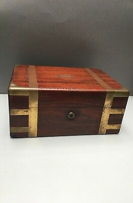 Antique Green of London Mahogany Wood Work Sewing Box Royal Suppliers Oxford St