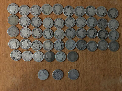Lot of 46 Barber Dimes + 3 Seated Liberty G VG VF SEE PICS SILVER COINS DIME #3