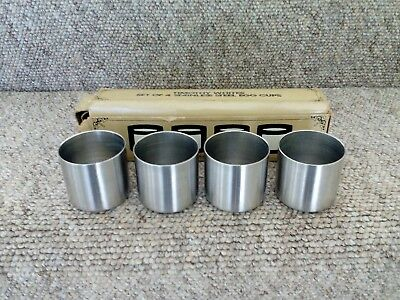 Vintage Boxed Set of 4 Timothy Whites 18/8 Stainless Steel Egg Cups.