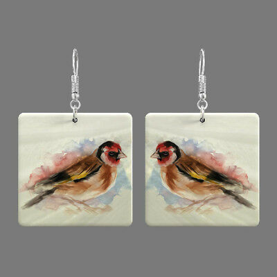 Natural Mother of Pearl Shell Bird Earrings Square Drop Jewelry S1706 0065