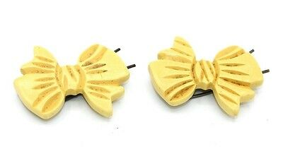 ANTIQUE Vtg CARVED YELLOW BAKELITE Bow Hair Clips, SET OF TWO