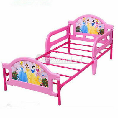 Toddler Bed with Guard Safety Rail Steel Frame Kids Cot Sized Princess