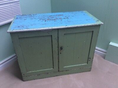 Antique Painted Pitch Pine Mill Cupboard