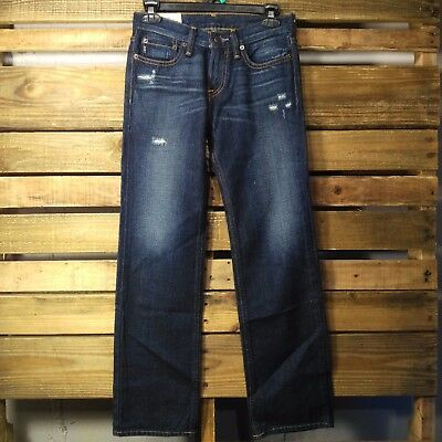 Abercrombie Fitch Boys Jeans Size 12 Dark Wash Factory Distressed Straight -J145