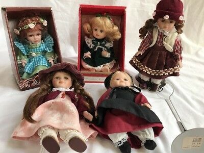 """5 Porcelain Victorian Amish Dolls And Two Stands 6 Inches 8"""" 9 Inches"""
