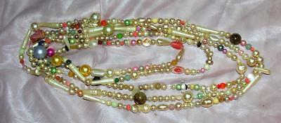 Vtg One-Of-A-Kind Folk Art Xmas Tree Garland 1950's Necklace Beads 10 Ft