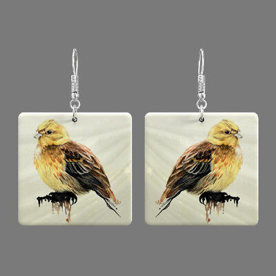 Natural Mother of Pearl Shell Bird Earrings Square Drop Jewelry S1706 0120