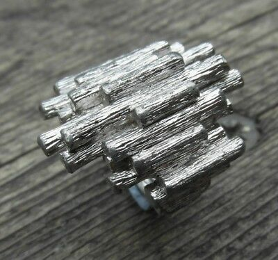 Fabulous Modernist Silvertone Ring by D'Orlan