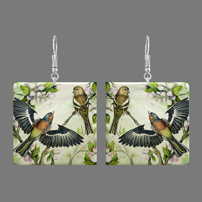 Natural Mother of Pearl Shell Bird Earrings Square Drop Jewelry S1706 0090