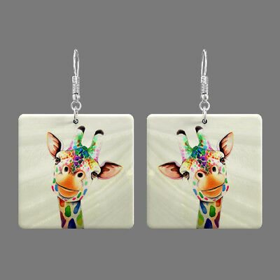 Natural Mother of Pearl Shell Giraffe Earrings Square Drop Jewelry S1706 0140