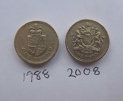 RARE £1 Pound Coins crown & shield 1988 & COAT OF ARMS 2008   x 5 sets