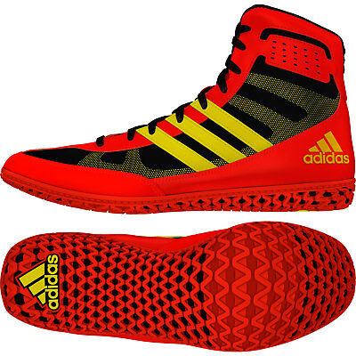 Adidas Mat Wizard 3 Wrestling Shoes Red & Yellow Boots Trainers Pumps
