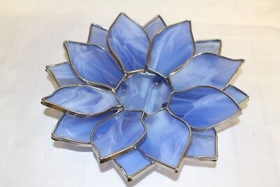 Exquisite Handmade Stained Art Glass Lotus Dish