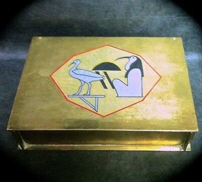 6 By 4 1/4 By 1 1/2 Inch Vintage Brass Tarot Box ~ Hieroglyph Of Thoth Label Top