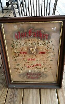 Antique Lord's Prayer Needlepoint Embroidery In Wooden Frame