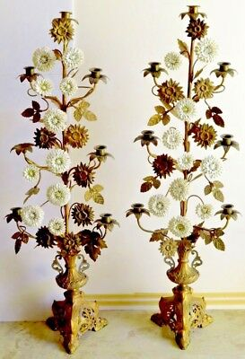 "Pair Antique Tole Porcelain Candelabra  Flower  Metal Standing  37"" Tall Each"