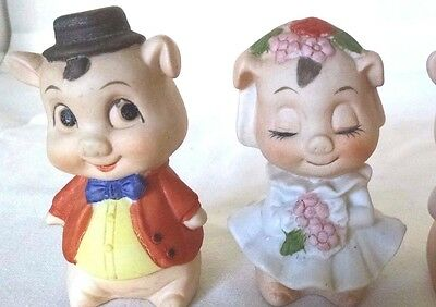 Pair Of Vintage Porcelain Pig Figurines UCGC Taiwan
