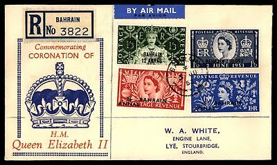 Mayfairstamps Bahrain Coronation set 1953 FDC registered With Coronation Set
