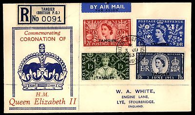Mayfairstamps coronation Set Tangier 1953 FDC Registered To England Sealed Flap