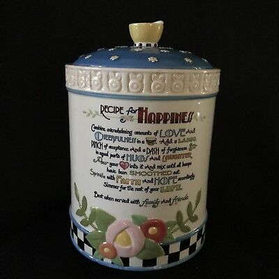 Retired Mary Engelbreit Recipe For Happiness Large Cookie Jar