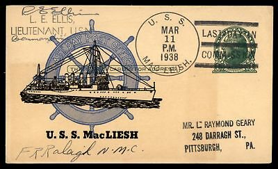 Mayfairstamps USS Macleish Last Day in commission 1938 Pstal Card Last Day Post