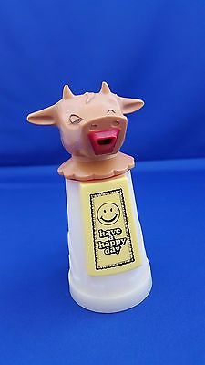 "Vtg 1970's Whirley Industries Usa Creamer Moo Cow ""have A Happy Day"" Plastic Ec"