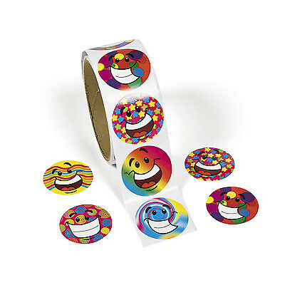 100 Colorful Funky Smile Happy Smiley Face Stickers Party Favor Loot Bag