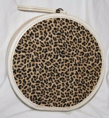 Vintage Faux Leopard Round Hat Carrying Zippered Box Case