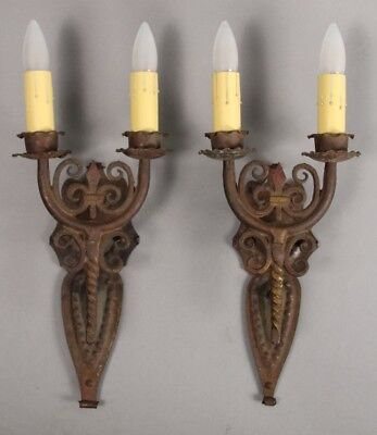 Antique Pair of 1920's Spanish Revival 2-light Wrought Iron Sconce (10726)