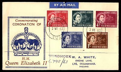 Mayfairstamps Southwest Africa 1953 Coronation FDC Red & Blue Crown Windhoek to