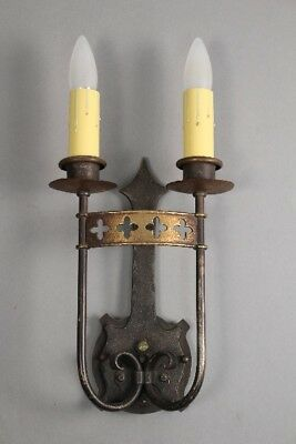 1 Of 3 Antique Spanish Revival Double Sconces W Clover Cut Outs c 1920's (10730)