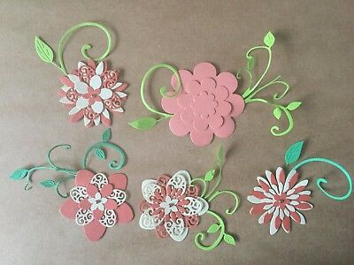 Scrapbooking Die Cuts 5 x Flowers With Leaves Die Cuts