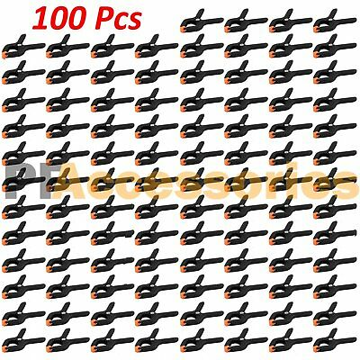 """100 Pcs 2.7"""" inch Mini Plastic Spring Clamps Tips Tool Clip 1"""" Jaw Opening"""