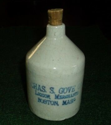 Miniature Stoneware Liquor Jug - Chas. Gove Liquor Merchants Boston Mass.