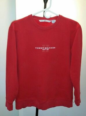 VTG Tommy Hilfiger spell out with capital H red crew sweatshirt women small
